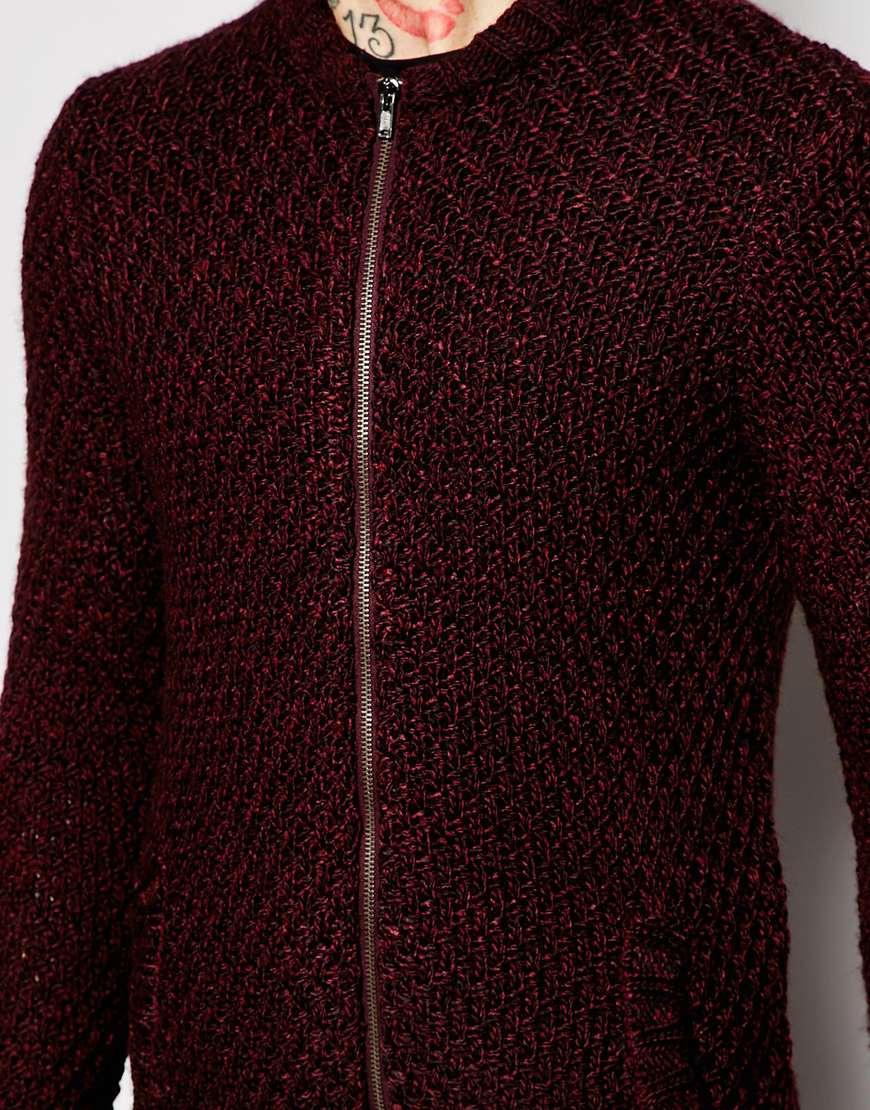 Knitting Pattern Bomber Jacket : Asos Knitted Bomber Jacket in Purple for Men Lyst