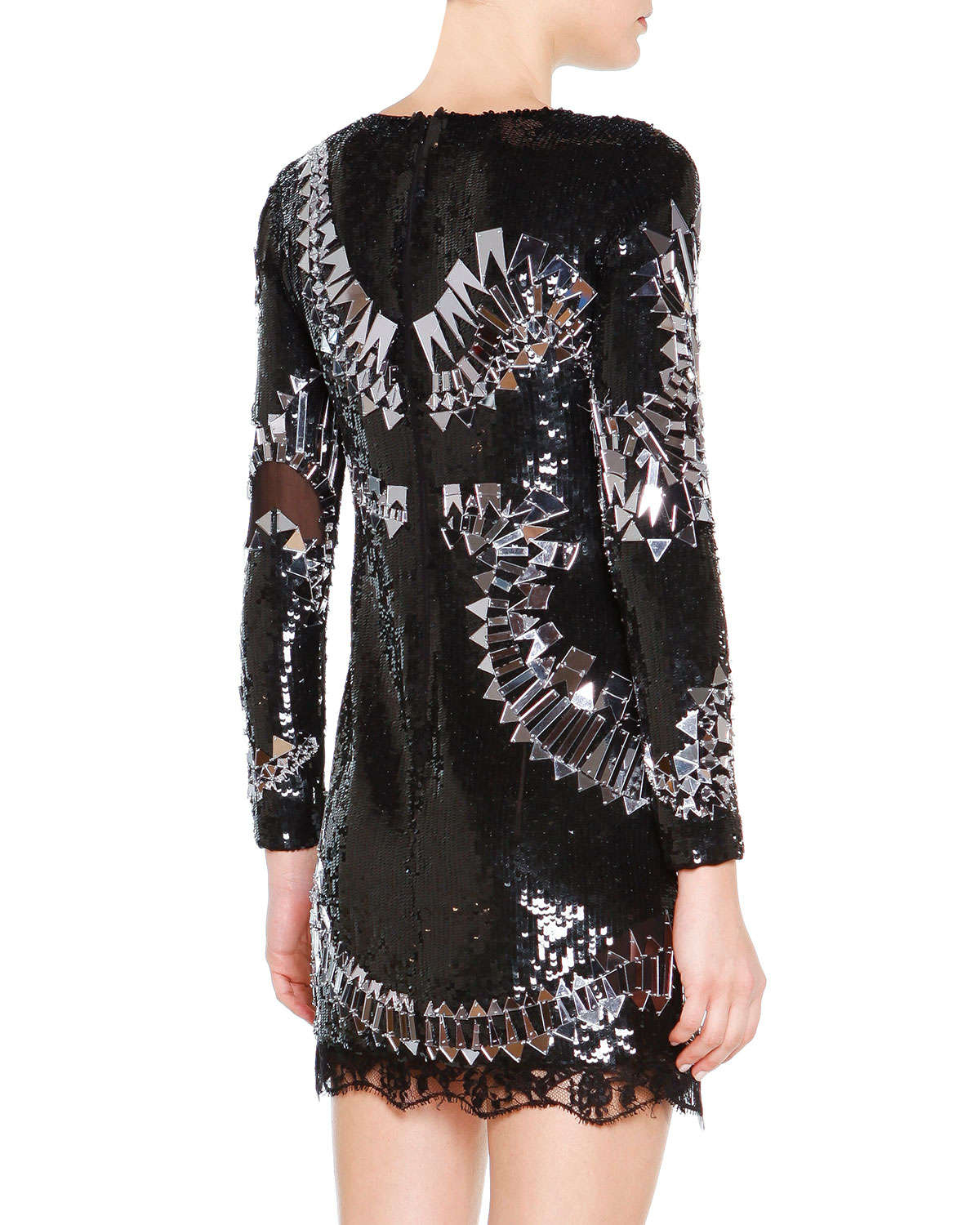 Lyst Emilio Pucci Long Sleeve Sequin Embroidered Dress