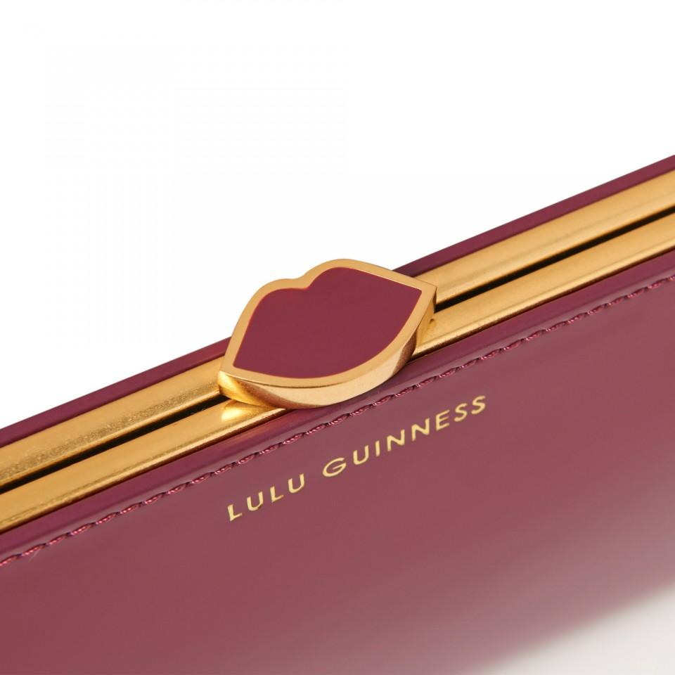 Lulu Guinness Magenta Polished Leather Flat Frame Purse in Purple - Lyst