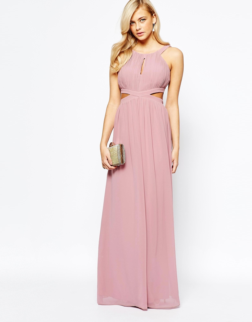 Little mistress Chiffon Maxi Dress With Cut Outs in Pink | Lyst