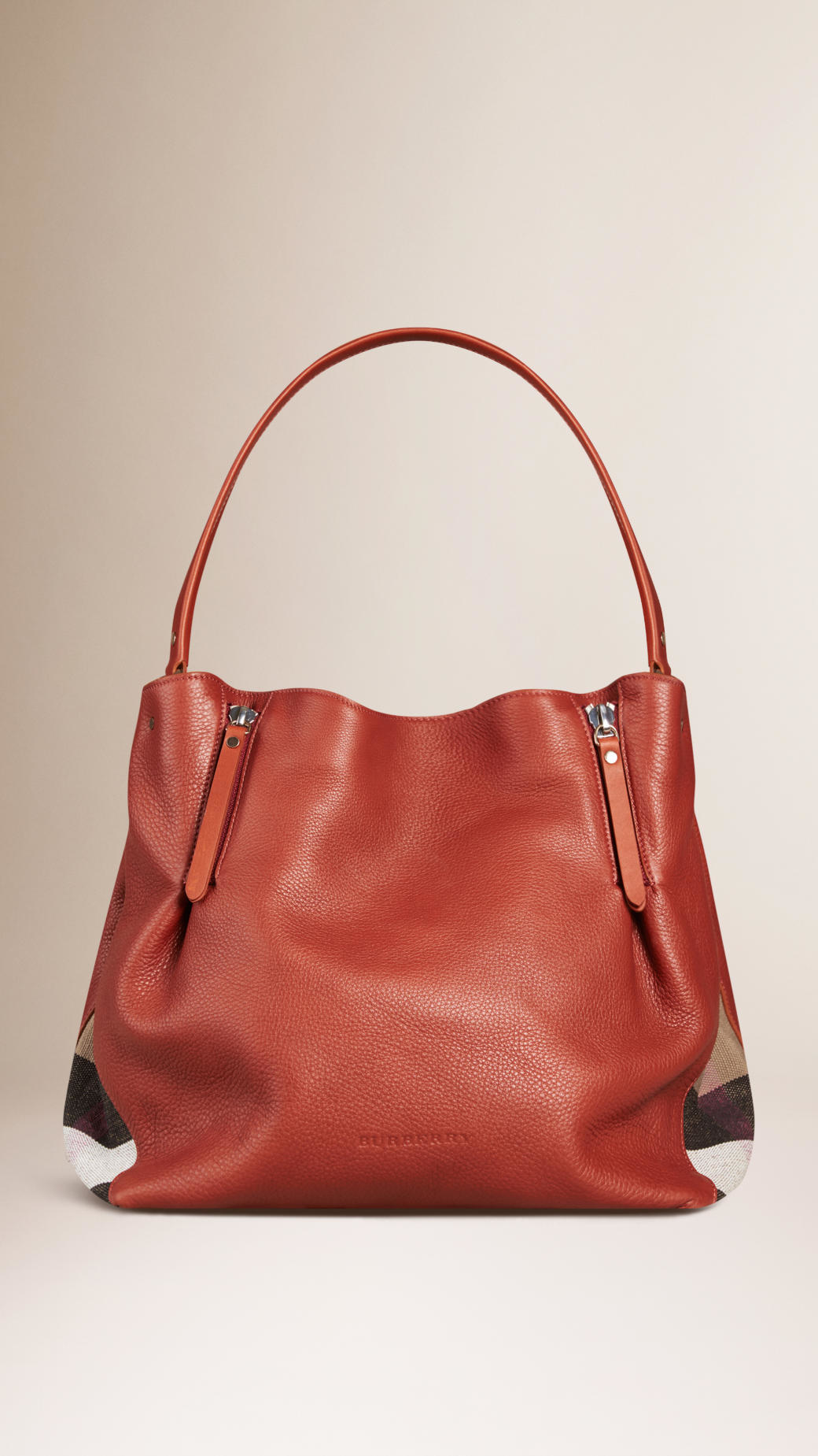 122697631751 Burberry Medium Check Detail Leather Tote Bag in Brown .