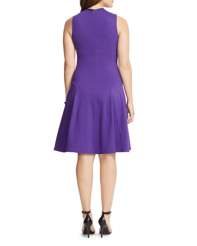 Lyst Ralph Lauren Lauren Plus Fit And Flare Dress In Purple