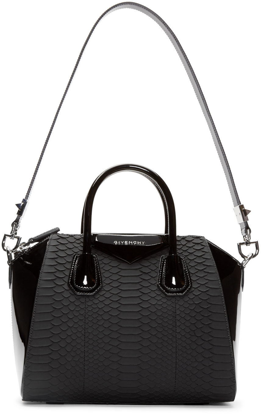 Lyst - Givenchy Black Python Leather Small Antigona Bag in Black be8a1ef745010