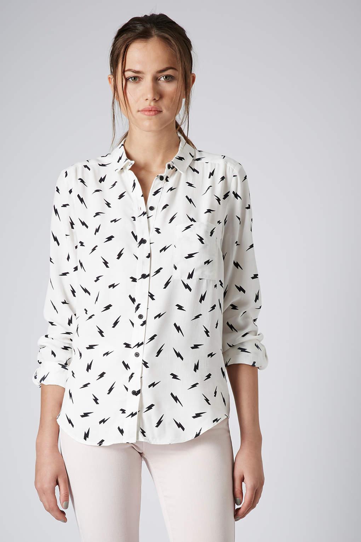 discount a few days away pretty cool TOPSHOP Lightning Bolt Shirt in Cream (White) - Lyst