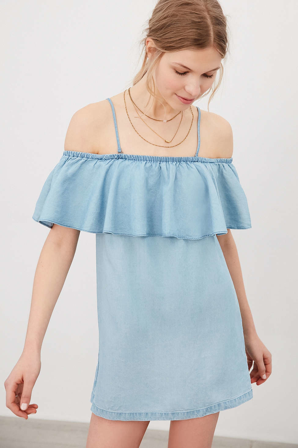 Lyst Cooperative Penny Chambray Off The Shoulder Mini