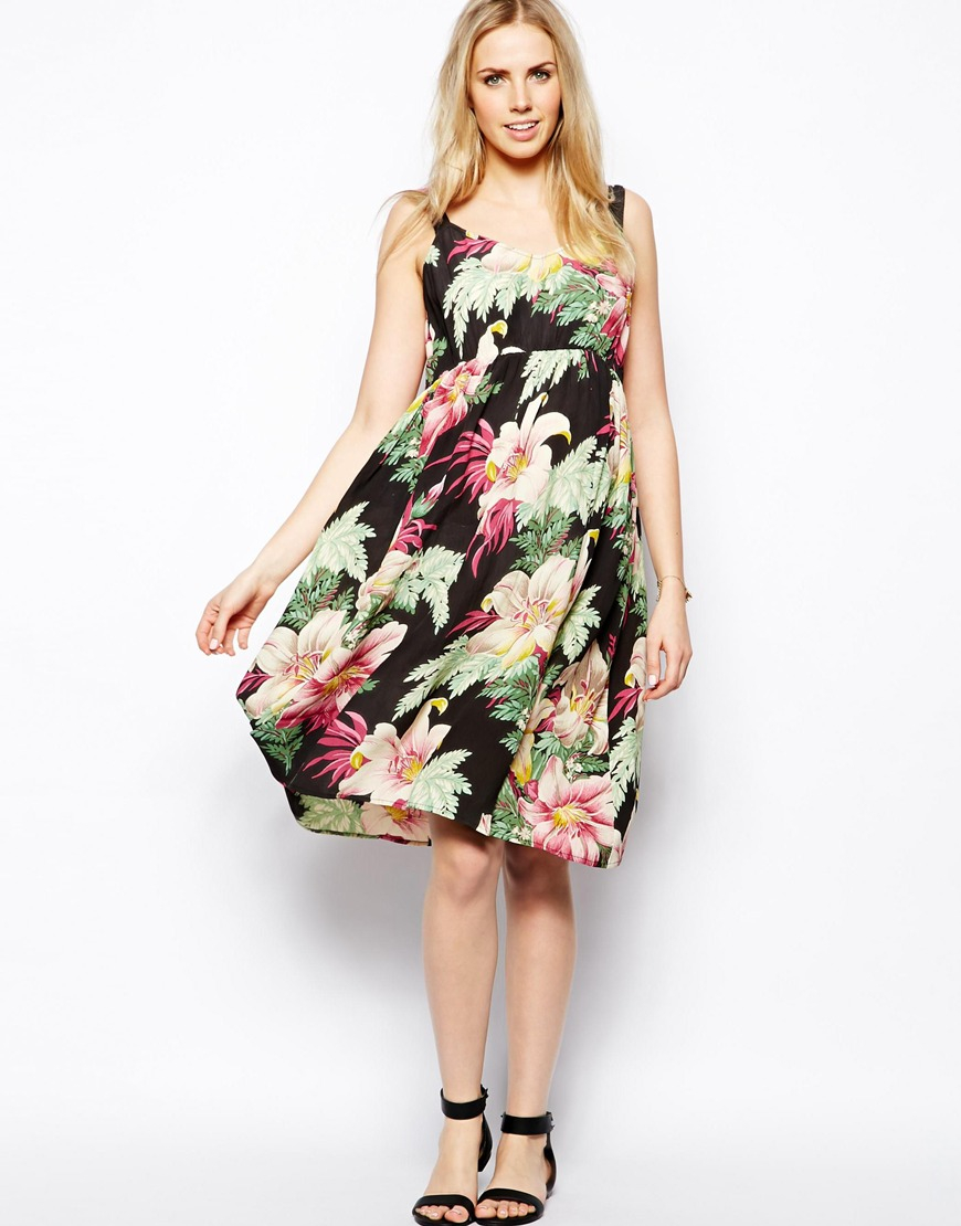 Lyst asos exclusive midi dress in hawaiian floral print in black ombrellifo Choice Image