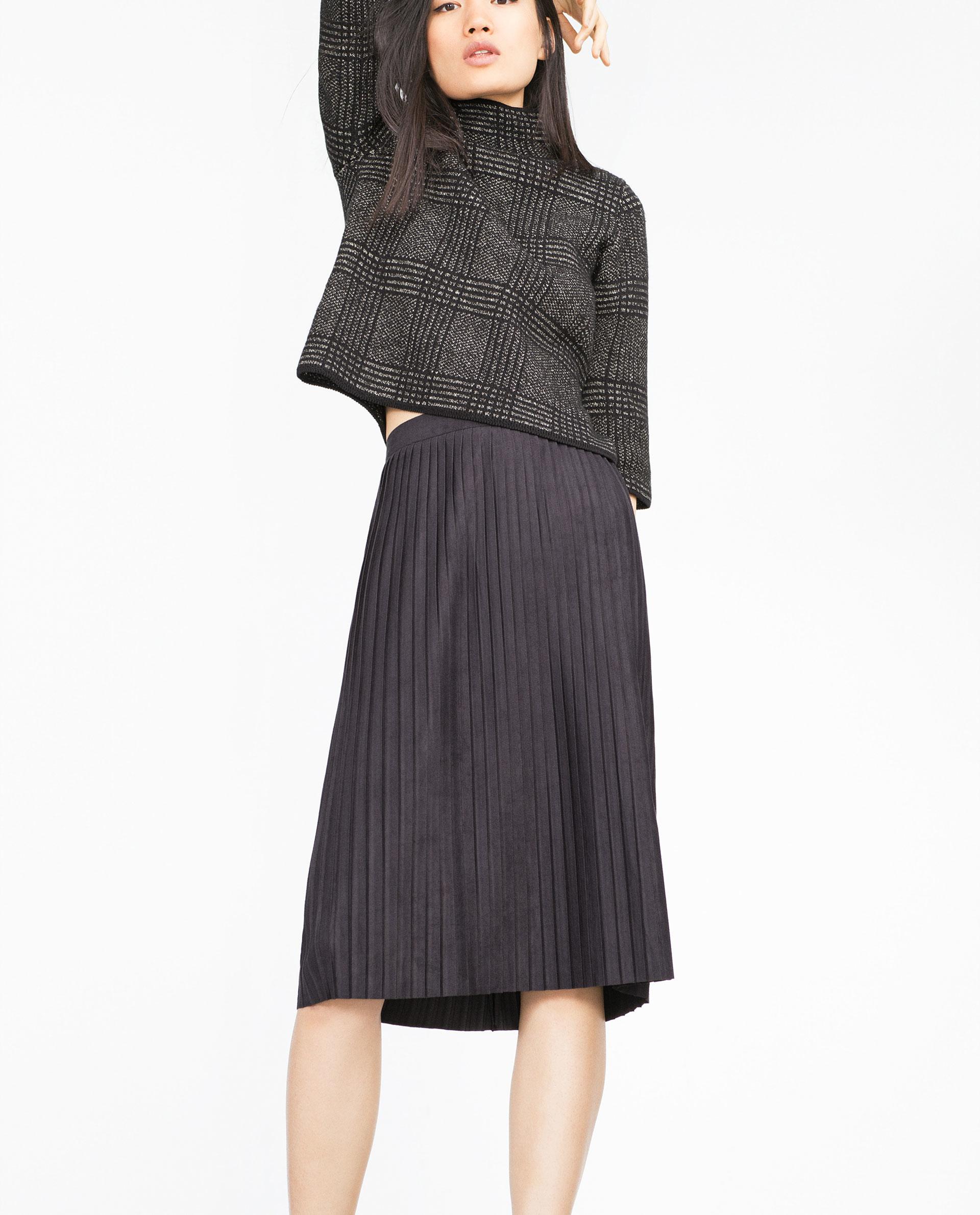 zara pleated midi skirt in black lyst