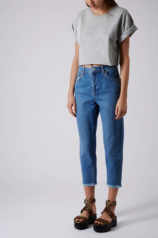 topshop moto raw hem mom jeans in blue lyst. Black Bedroom Furniture Sets. Home Design Ideas
