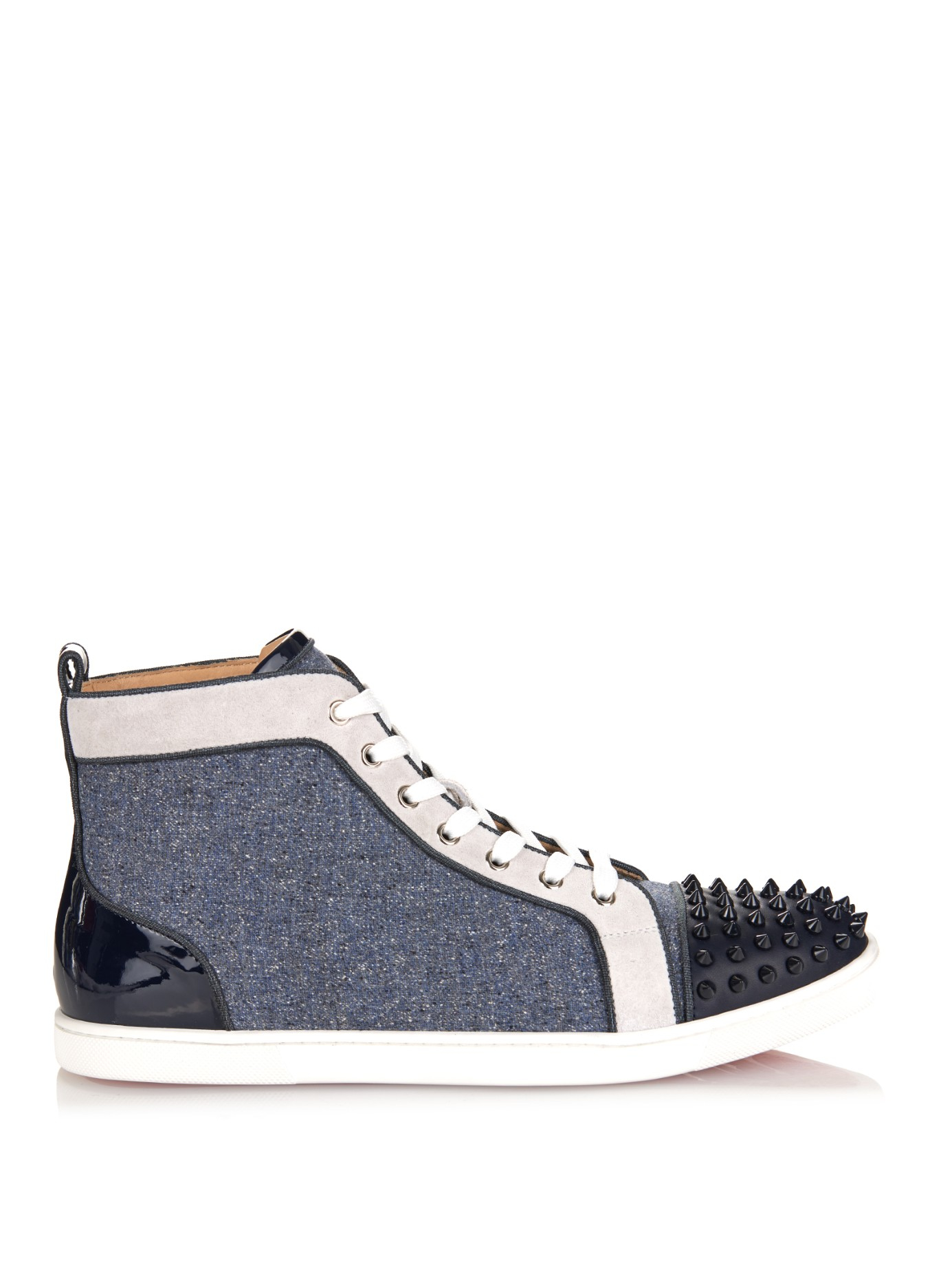 4712158dcf64 Christian Louboutin Bip Bip Orlato Spiked High-Top Sneakers in Blue ...