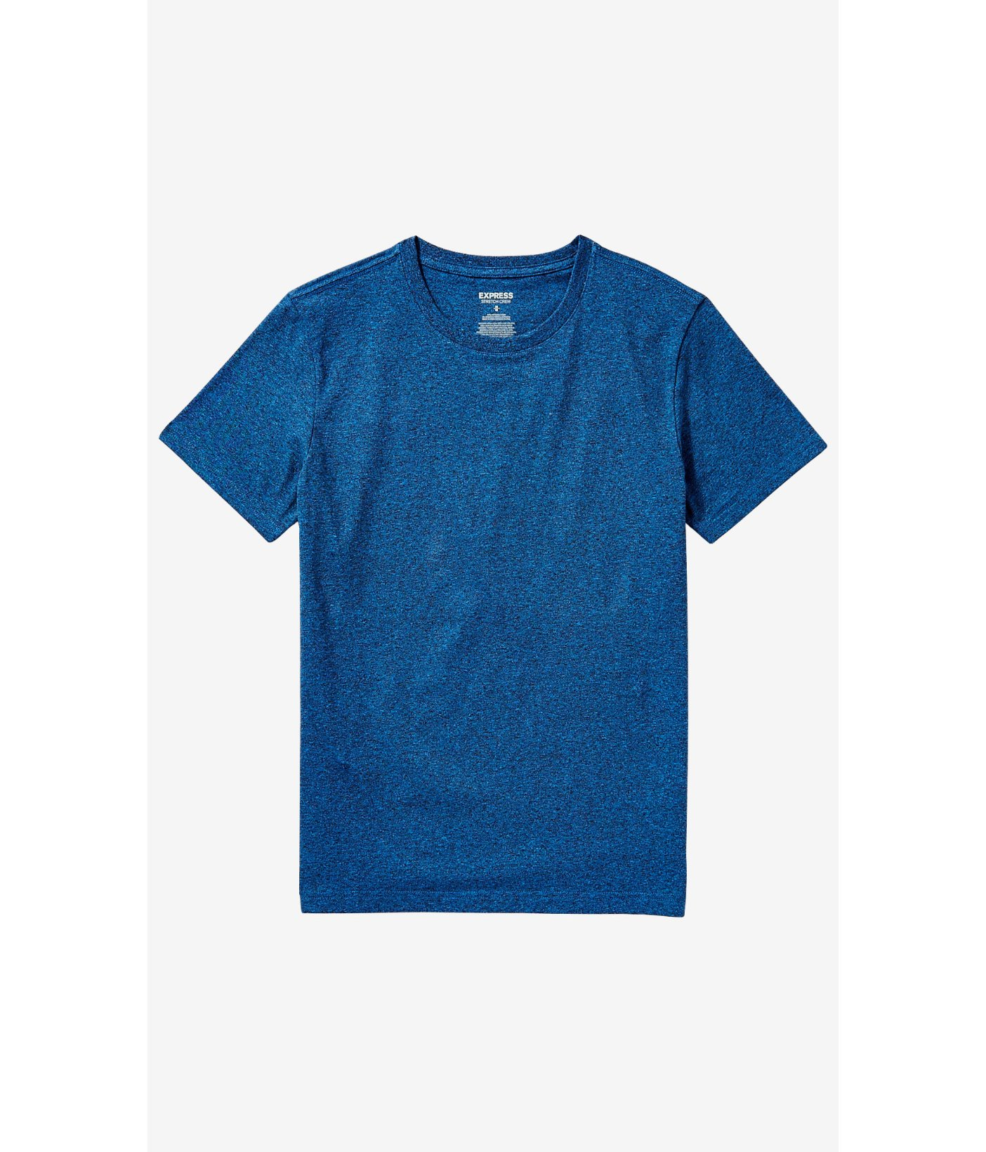 Express Heathered Stretch Cotton Crew Neck Tee In Blue For