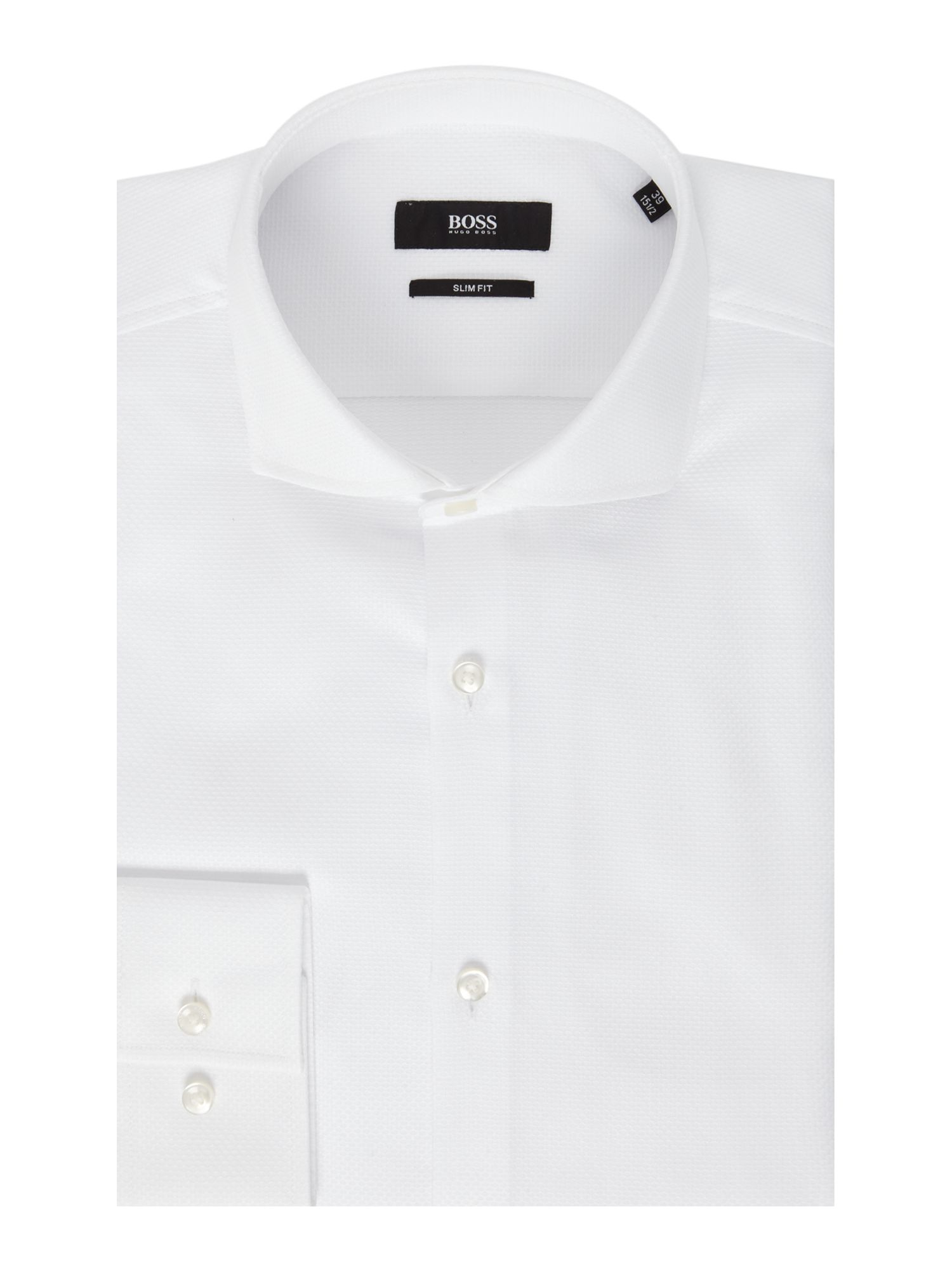 Boss slim fit jason shirt in whiter jacquard in white for for Hugo boss jason shirt