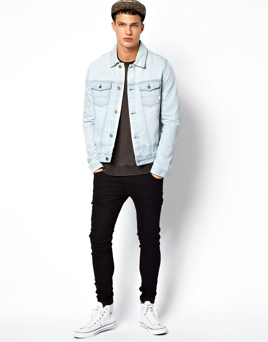 Asos Denim Jacket with Acid Wash in Blue for Men | Lyst