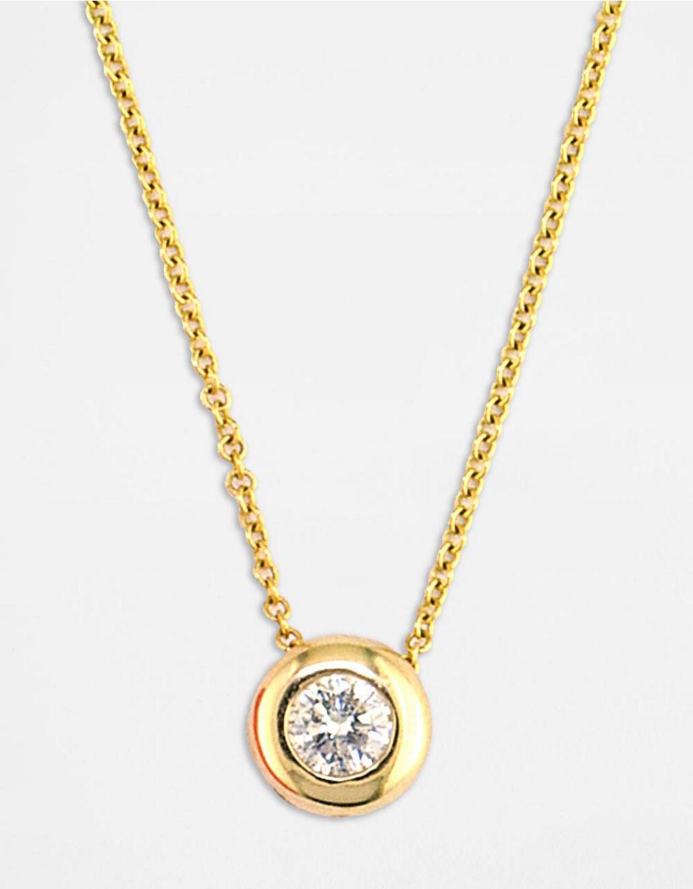 effy d oro 14 kt gold bezel pendant necklace in