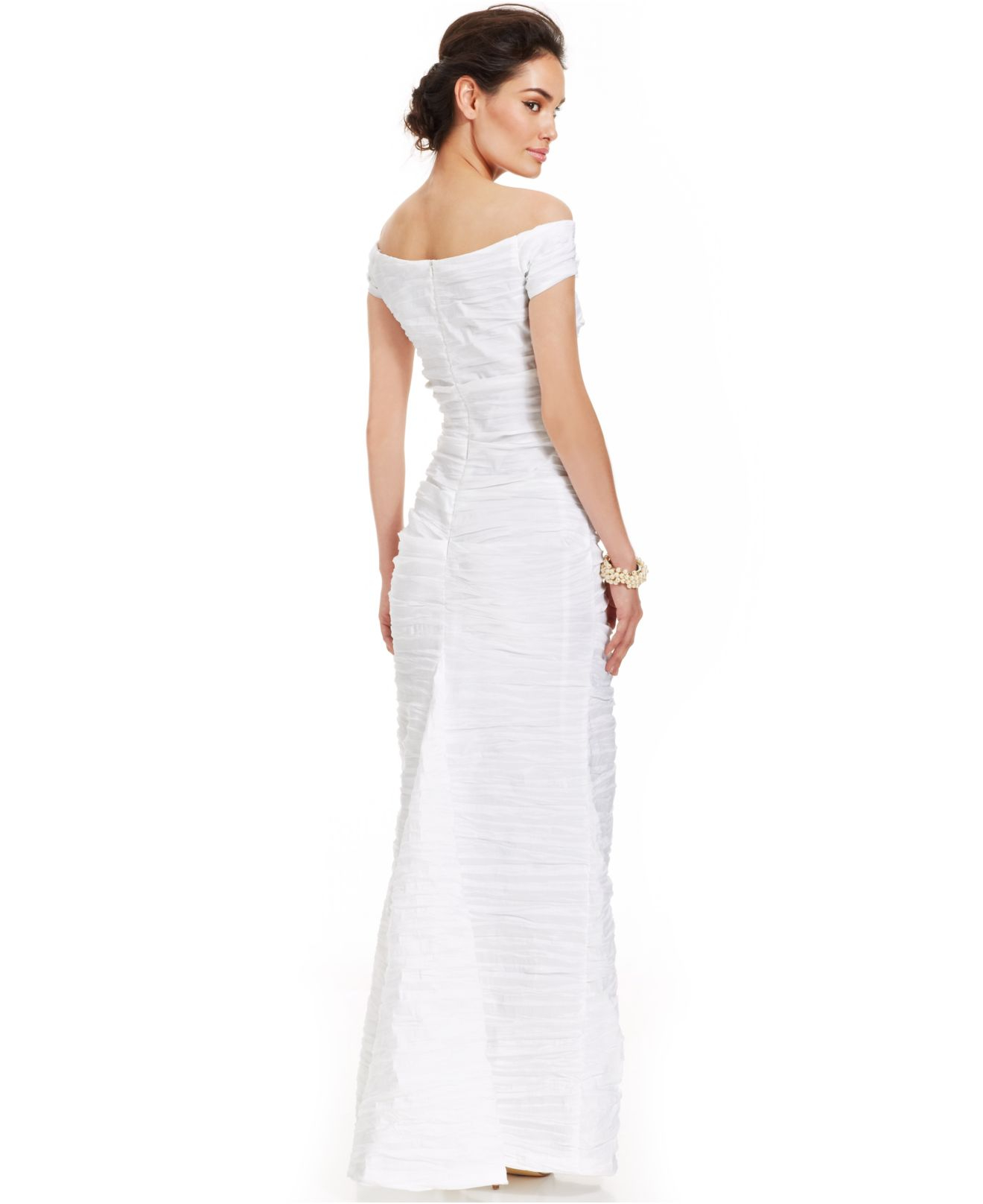 Lyst - Alex Evenings Off-the-shoulder Taffeta Evening Gown in White