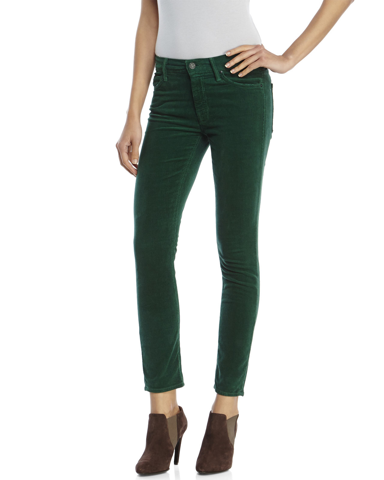 Mother The Muse Corduroy Ankle Pants in Green | Lyst