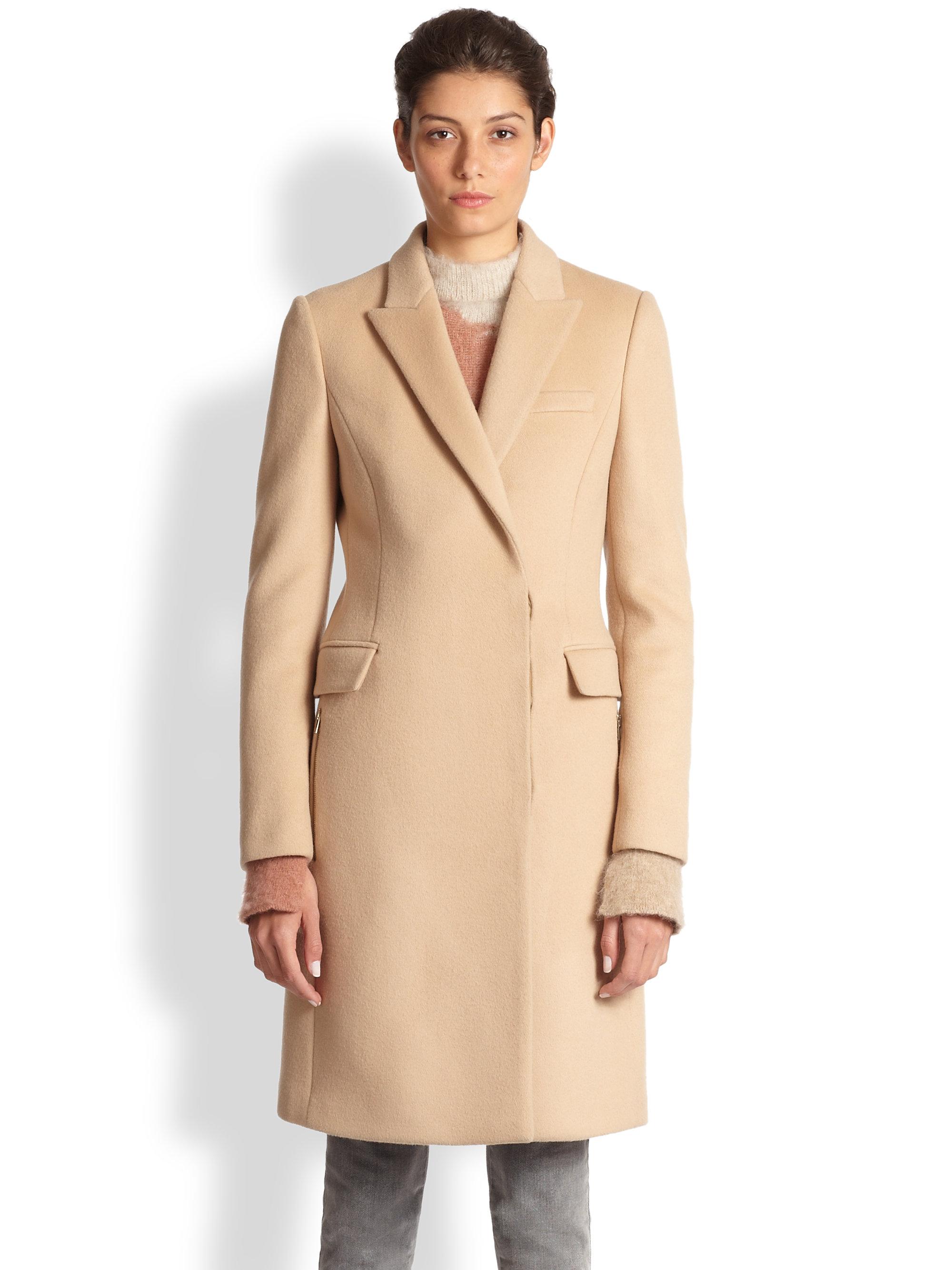 Stella Mccartney Florence Camel Coat In Brown Navy Multi
