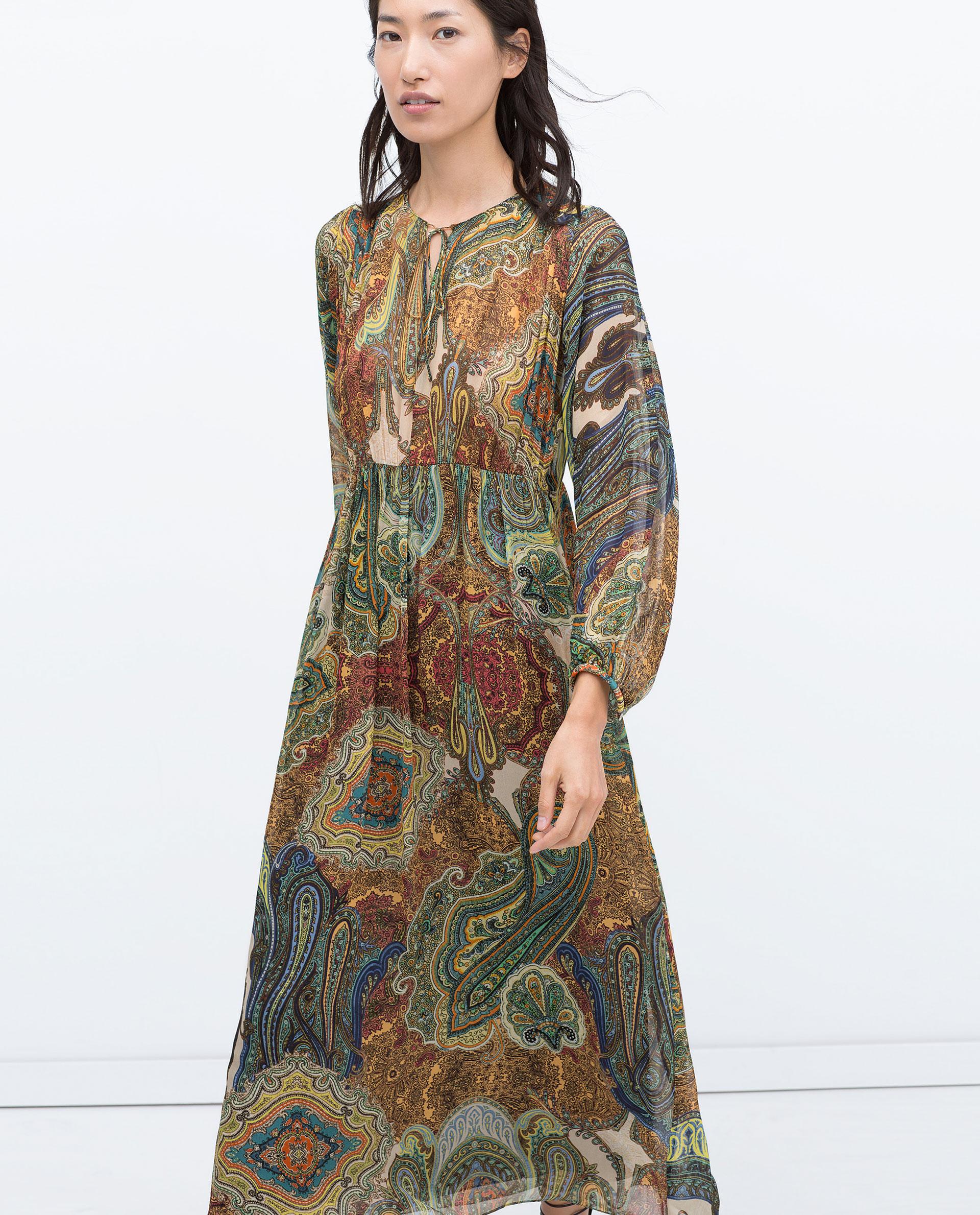 Zara Oriental Floral Print Dress