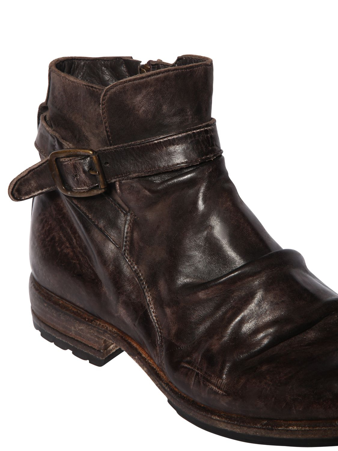 Lyst Shoto Vintage Effect Washed Leather Boots In Brown