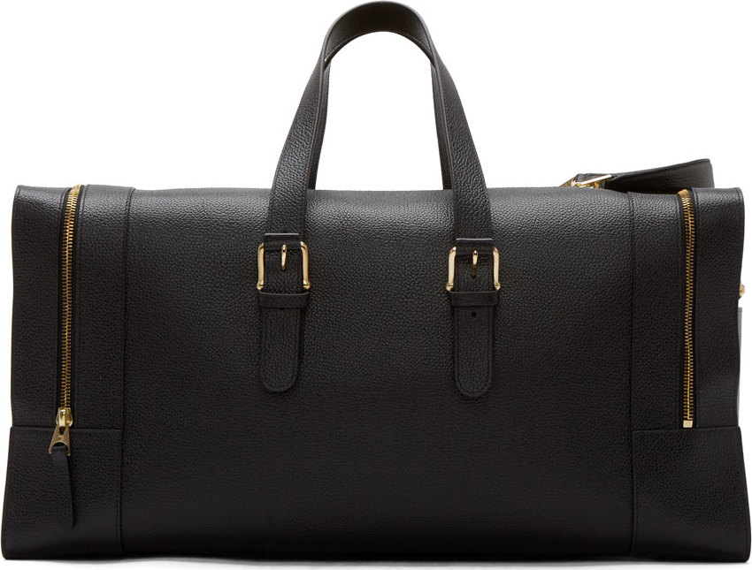 85fb61ca1af Thom Browne Black Grained Leather Duffle Bag in Black for Men - Lyst