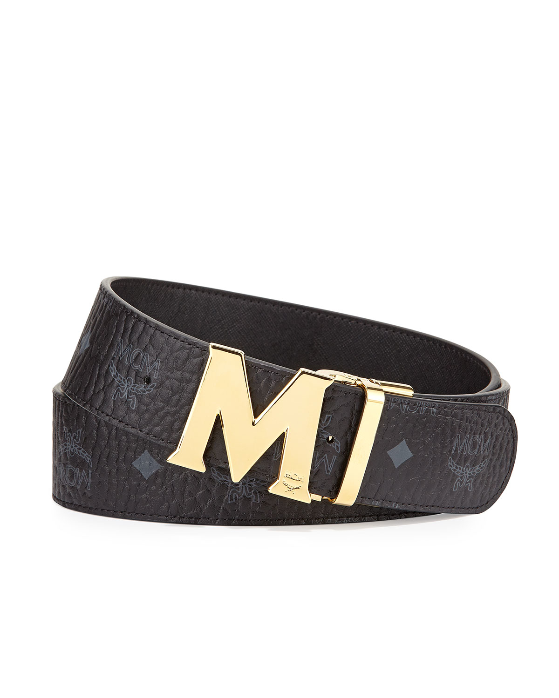 mcm reversible visetos leather belt in black for lyst