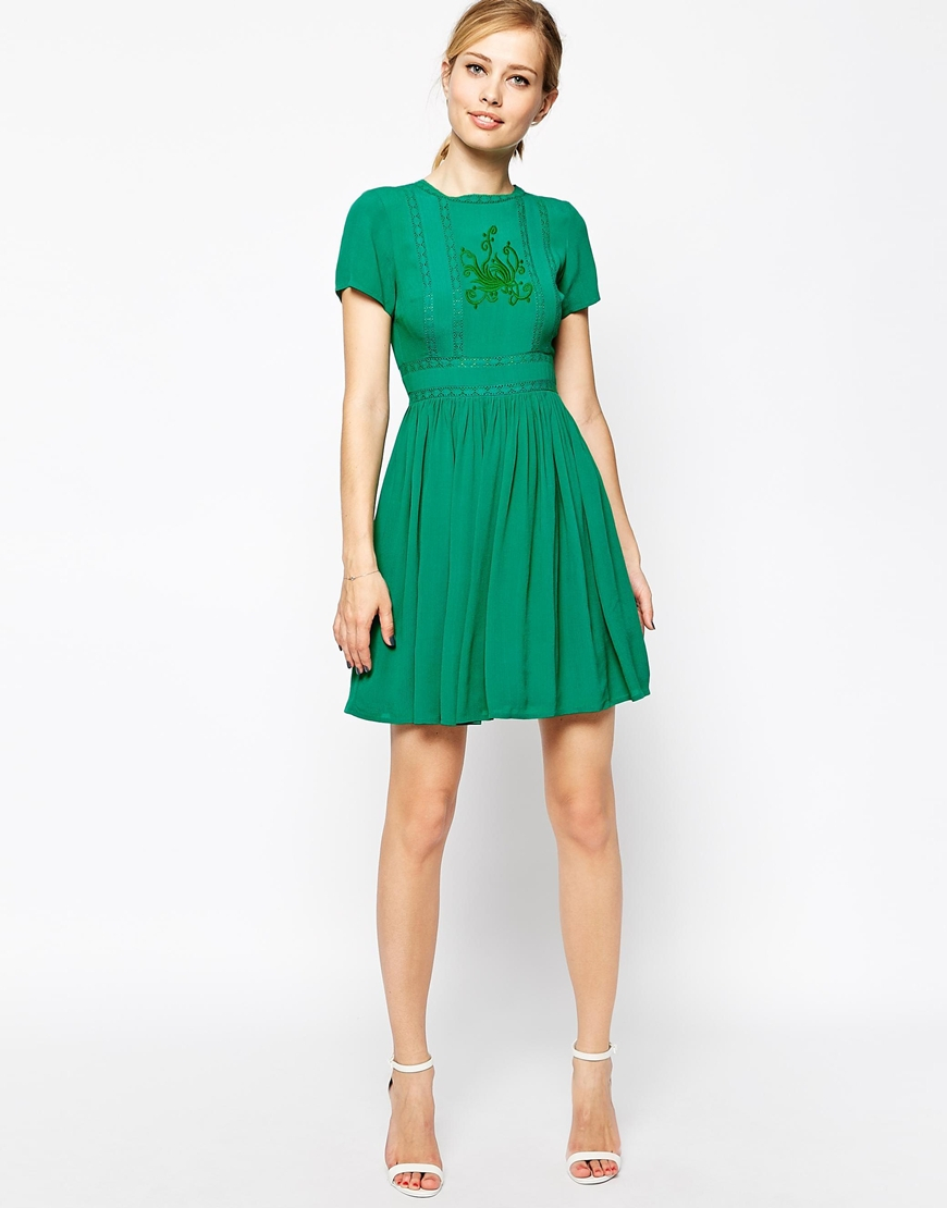 79340ea87421d ASOS Premium Skater Dress With Embroidery And Lace in Green - Lyst