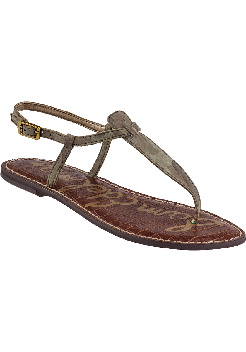 f4dcf91356507 Lyst - Sam Edelman Gigi Flat Sandal Camo Leather in Green