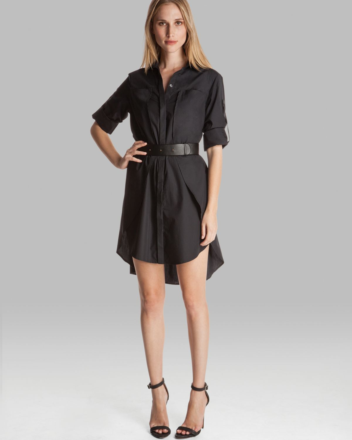 Halston shirt dress belted with overlay detail in black lyst for Halston heritage shirt dress