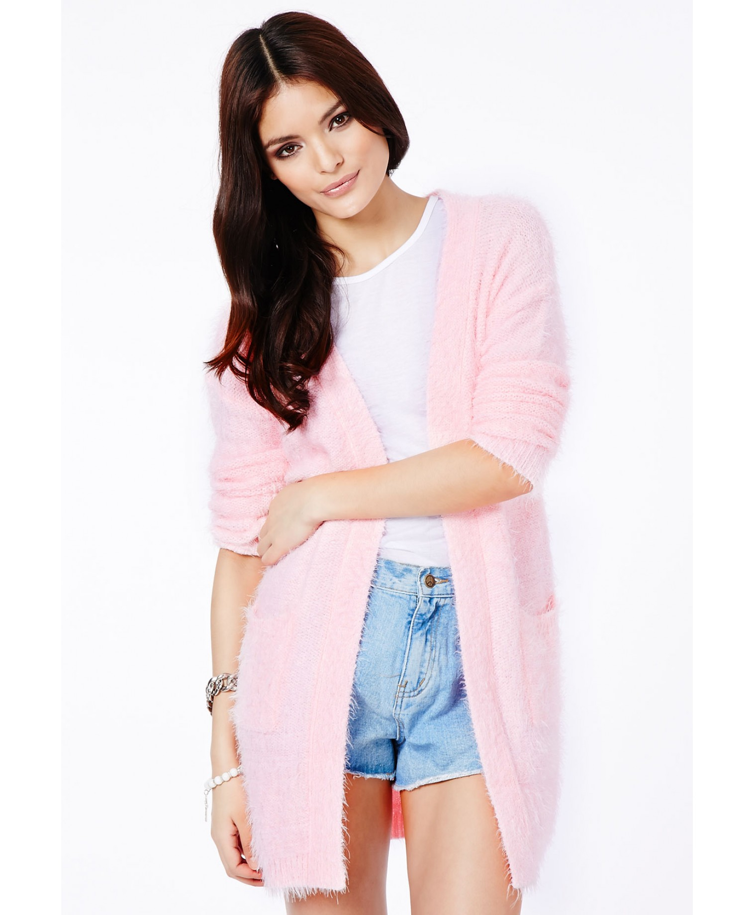 deb39a117c22 Missguided Satomi Eyelash Knit Cardigan In Baby Pink in Pink - Lyst
