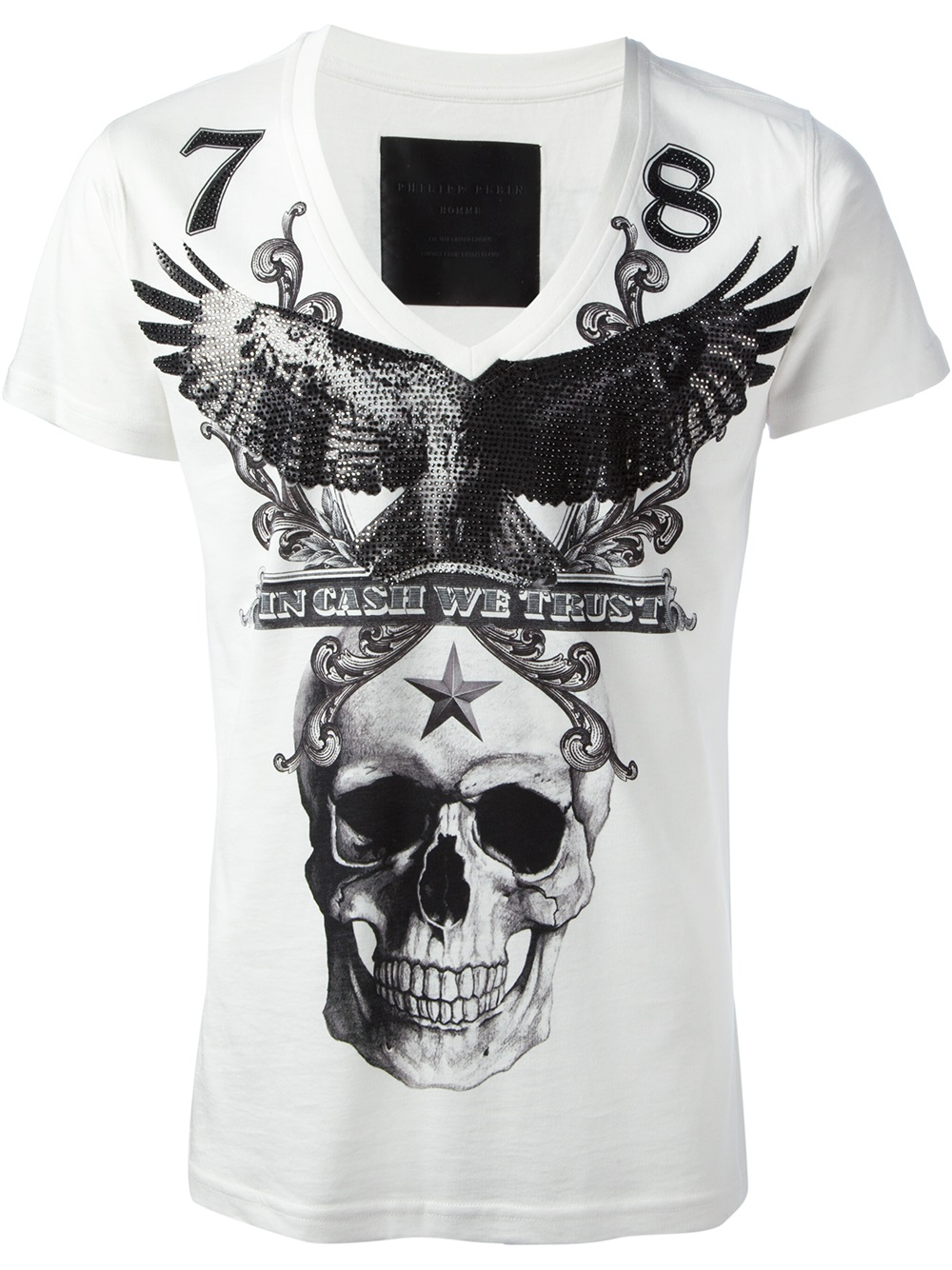 lyst philipp plein skull print tshirt in white for men