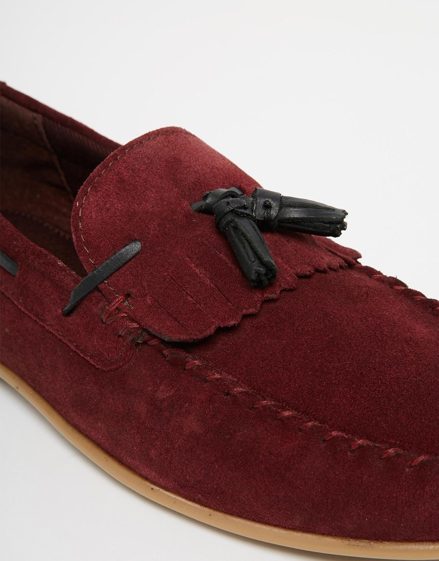 6f3f3e67dc9 Lyst - ASOS Tassel Loafers In Burgundy Suede With Fringe in Red for Men