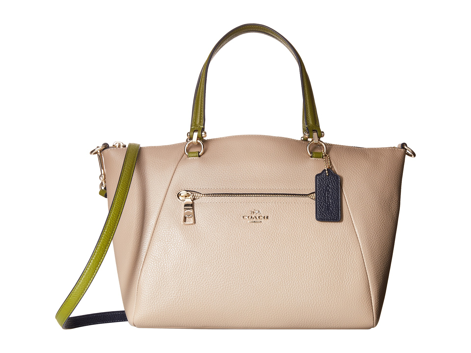 02098960ba0c Lyst - COACH Color Block Polished Pebble Leather Prairie Satchel in ...