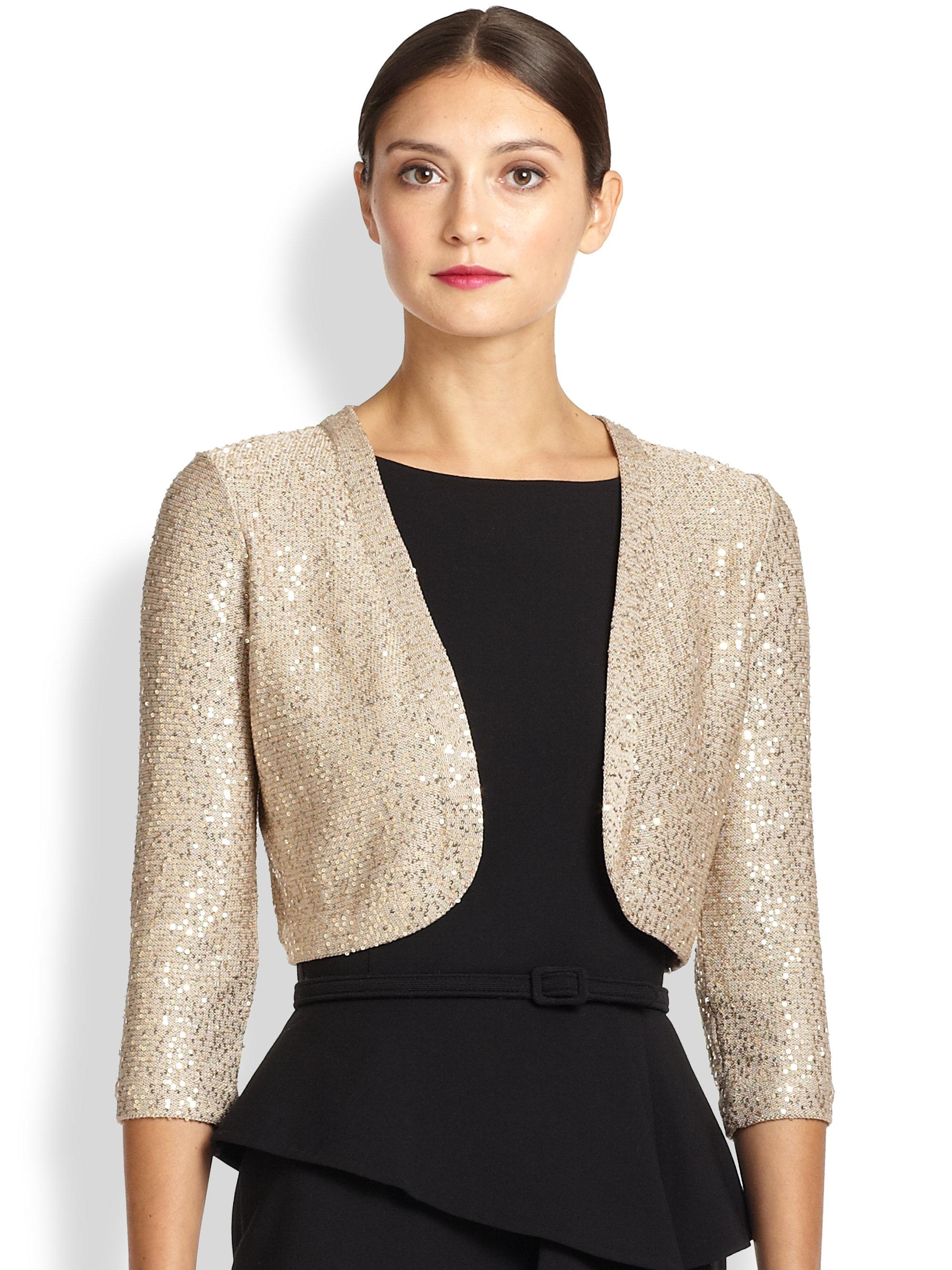 oscar de la renta sequined bolero jacket in gold lyst. Black Bedroom Furniture Sets. Home Design Ideas