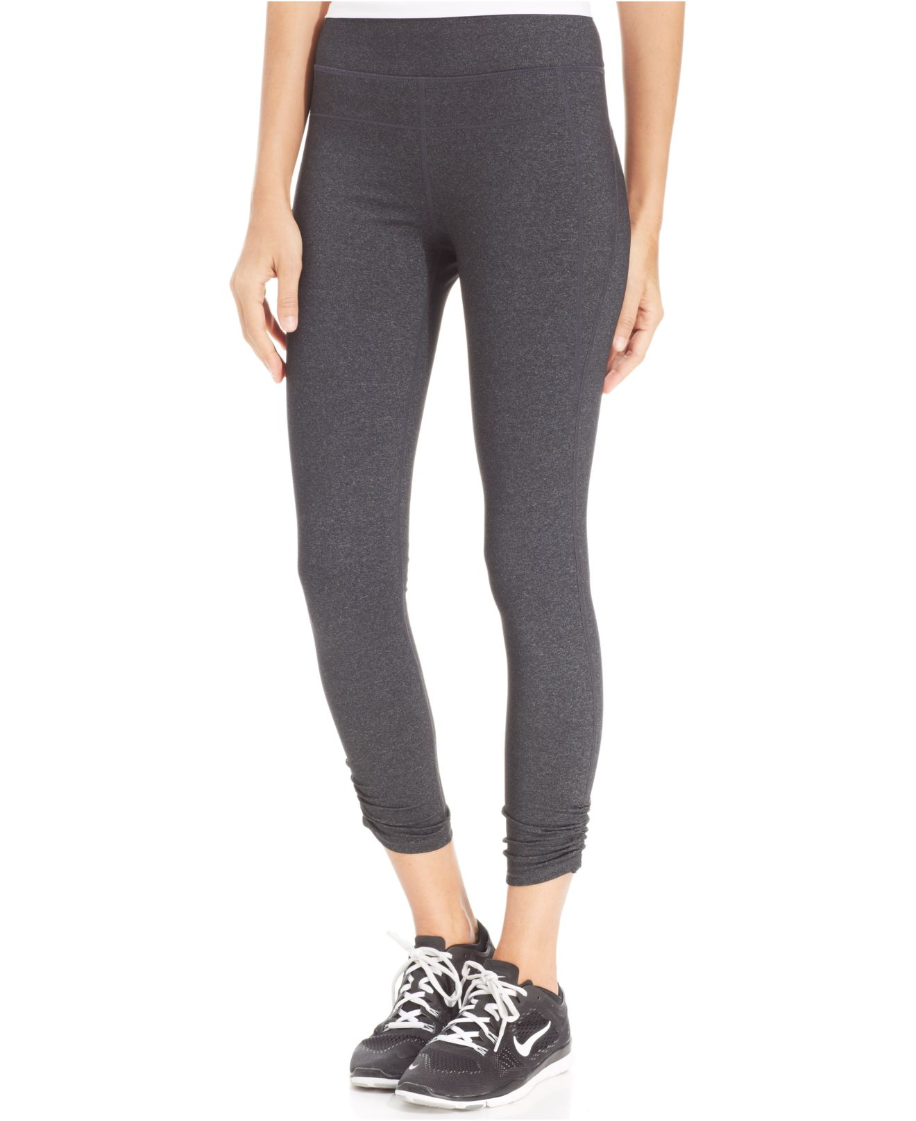 calvin klein performance ruched leggings in gray lyst. Black Bedroom Furniture Sets. Home Design Ideas