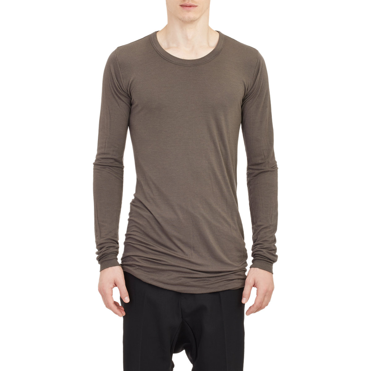 Mens Double-Layer Cotton Long-Sleeve T-Shirt Rick Owens For Sale Official Site Clearance Sast Outlet 100% Guaranteed Sale Reliable Outlet Original Y4JsUND7C