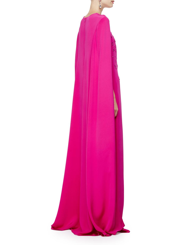 Oscar de la renta embellished caftan gown wcape back in pink view fullscreen ombrellifo Gallery