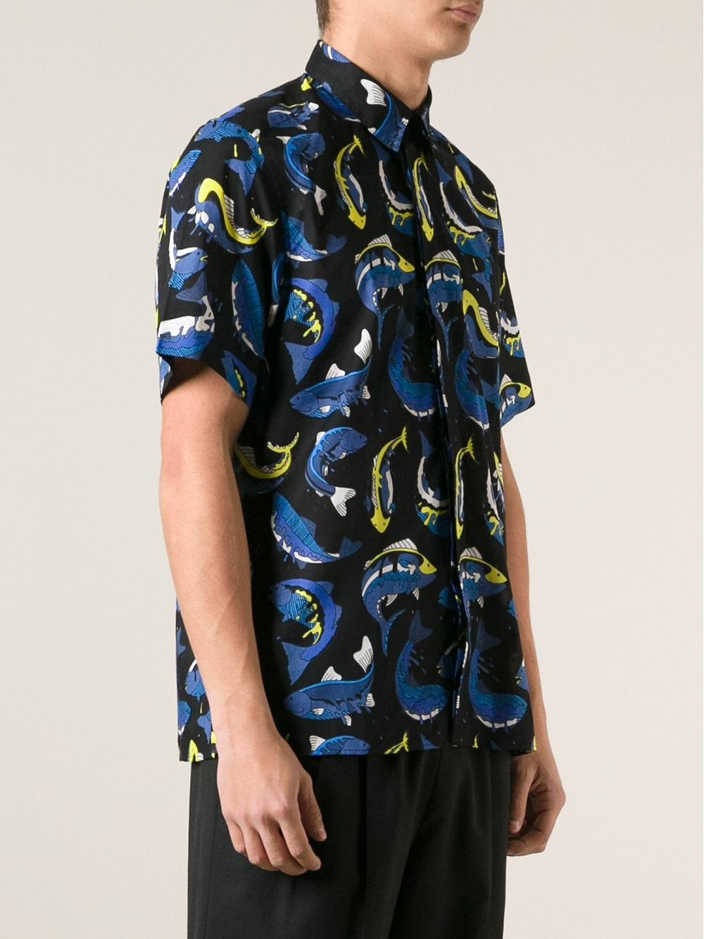 Lyst kenzo fish print shirt in black for men for Fish print shirt