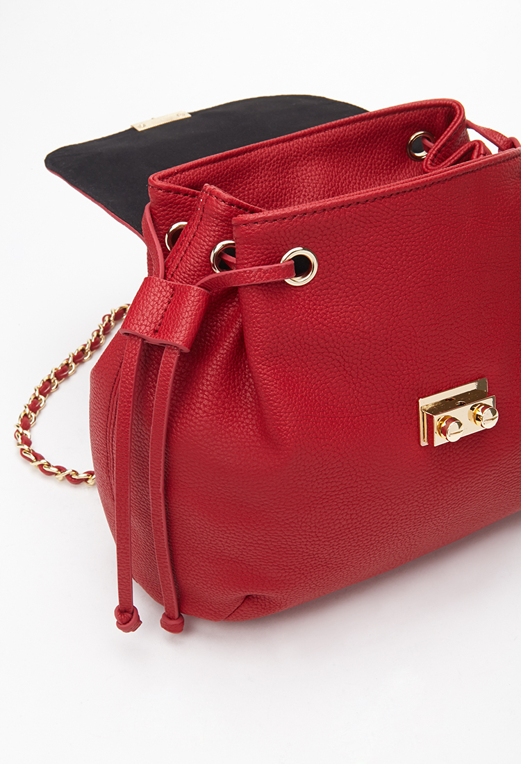 Forever 21 chain strapped faux leather backpack in red lyst for Define faux leather