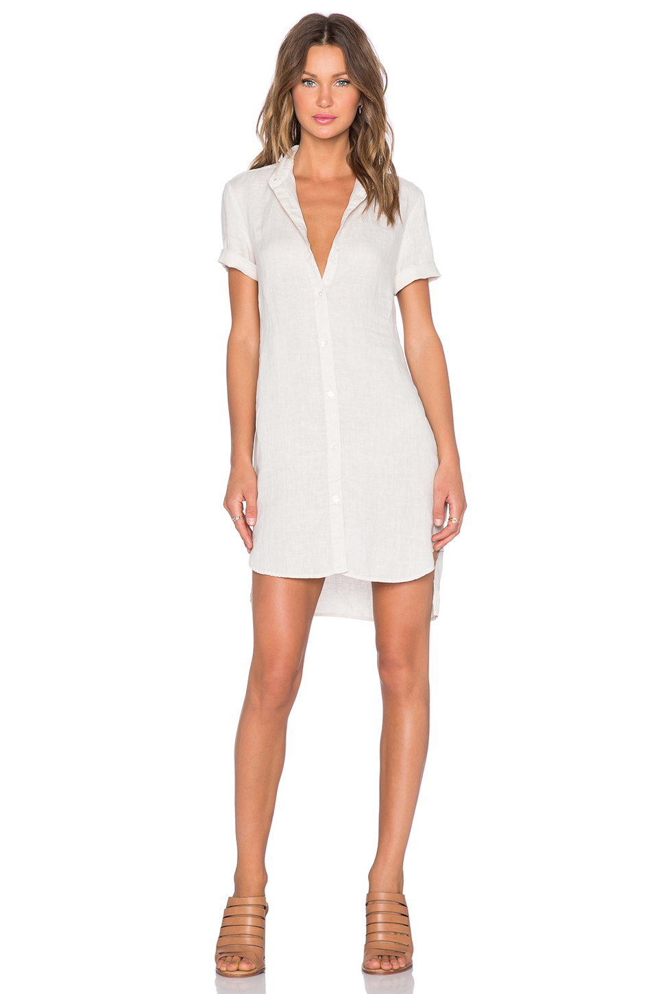 fa34b01b15 Lyst - James Perse Linen Shirt Dress in White