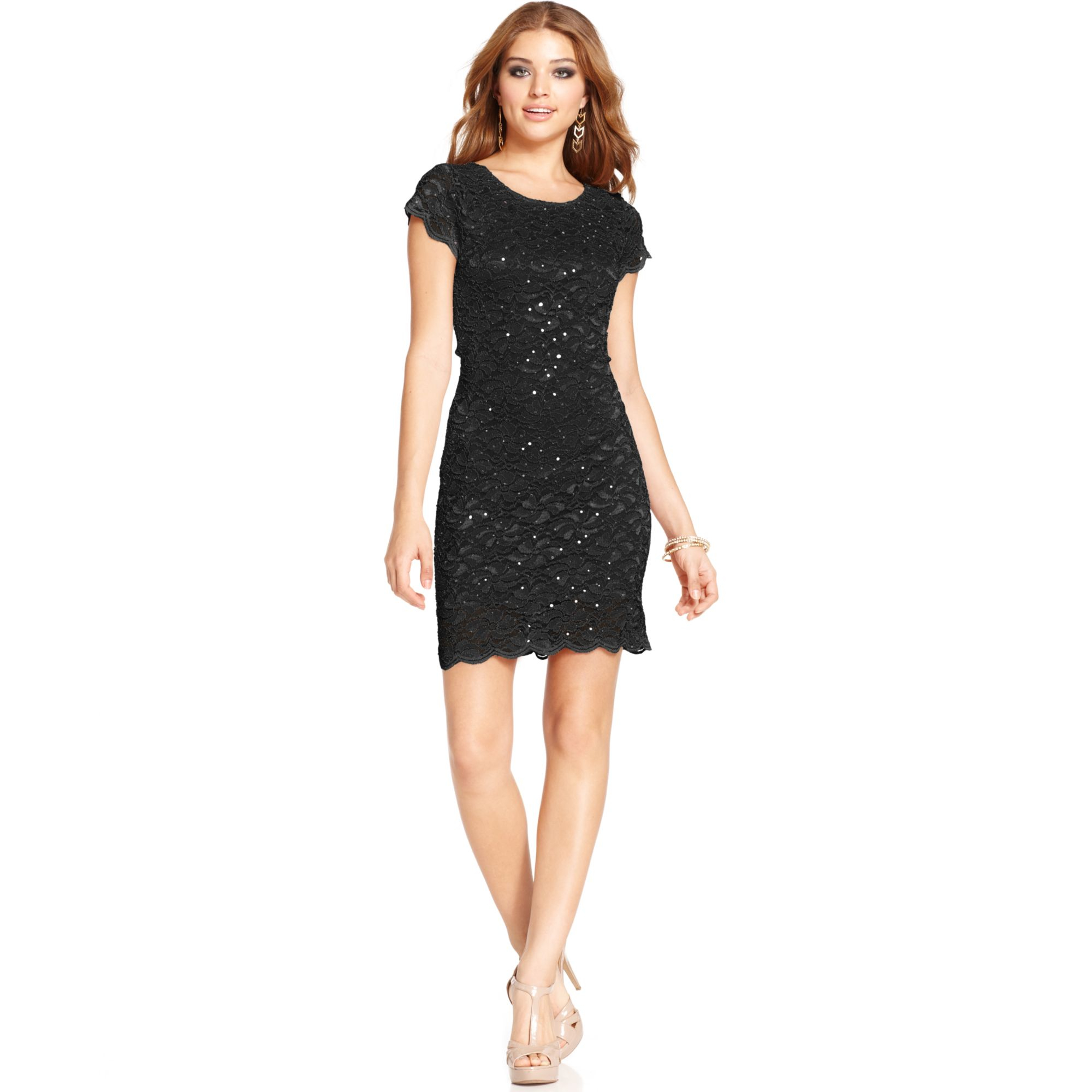 Lyst Jump Juniors Sequined Lace Dress In Black