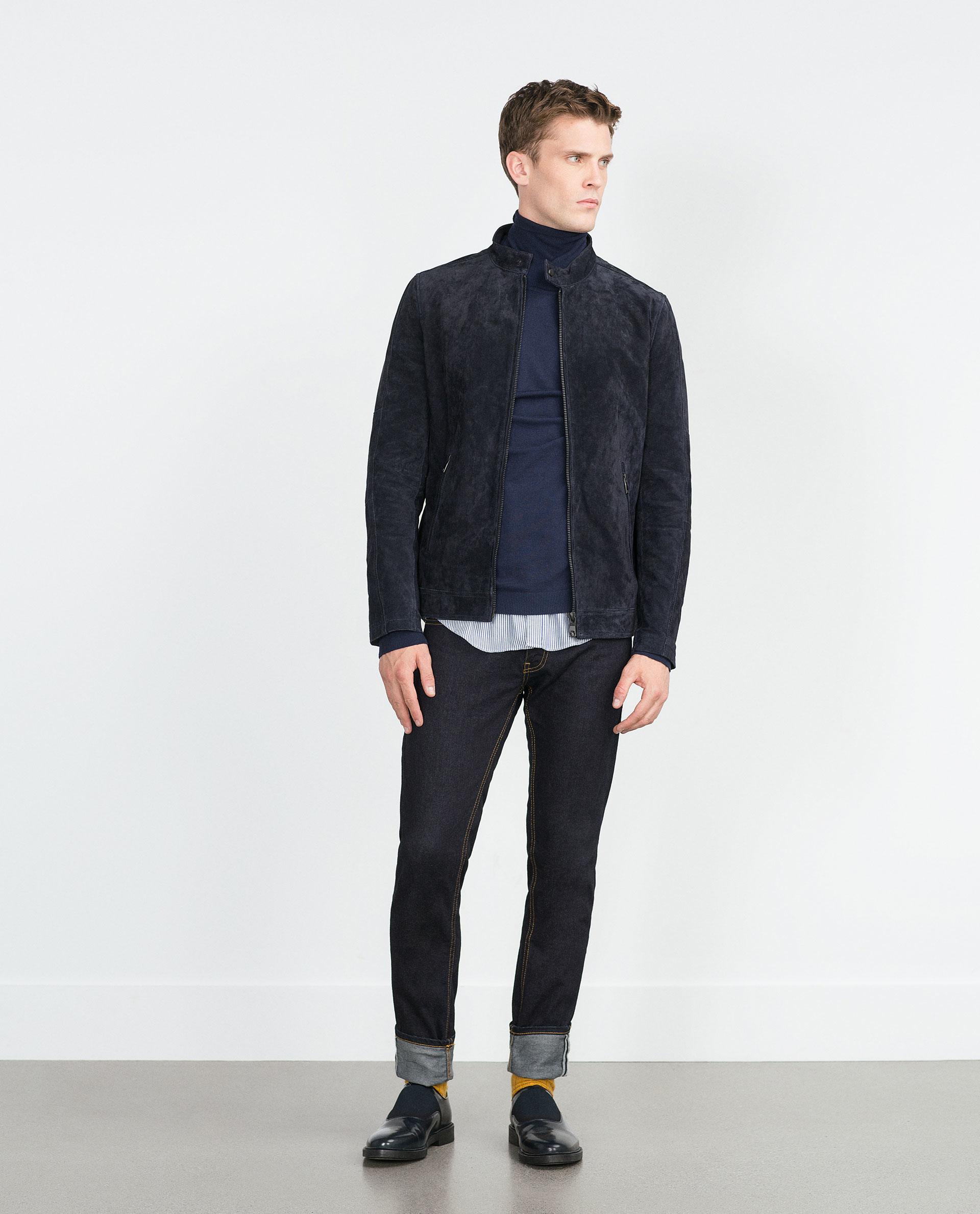 Zara Navy Split Suede Jacket In Blue For Men Lyst
