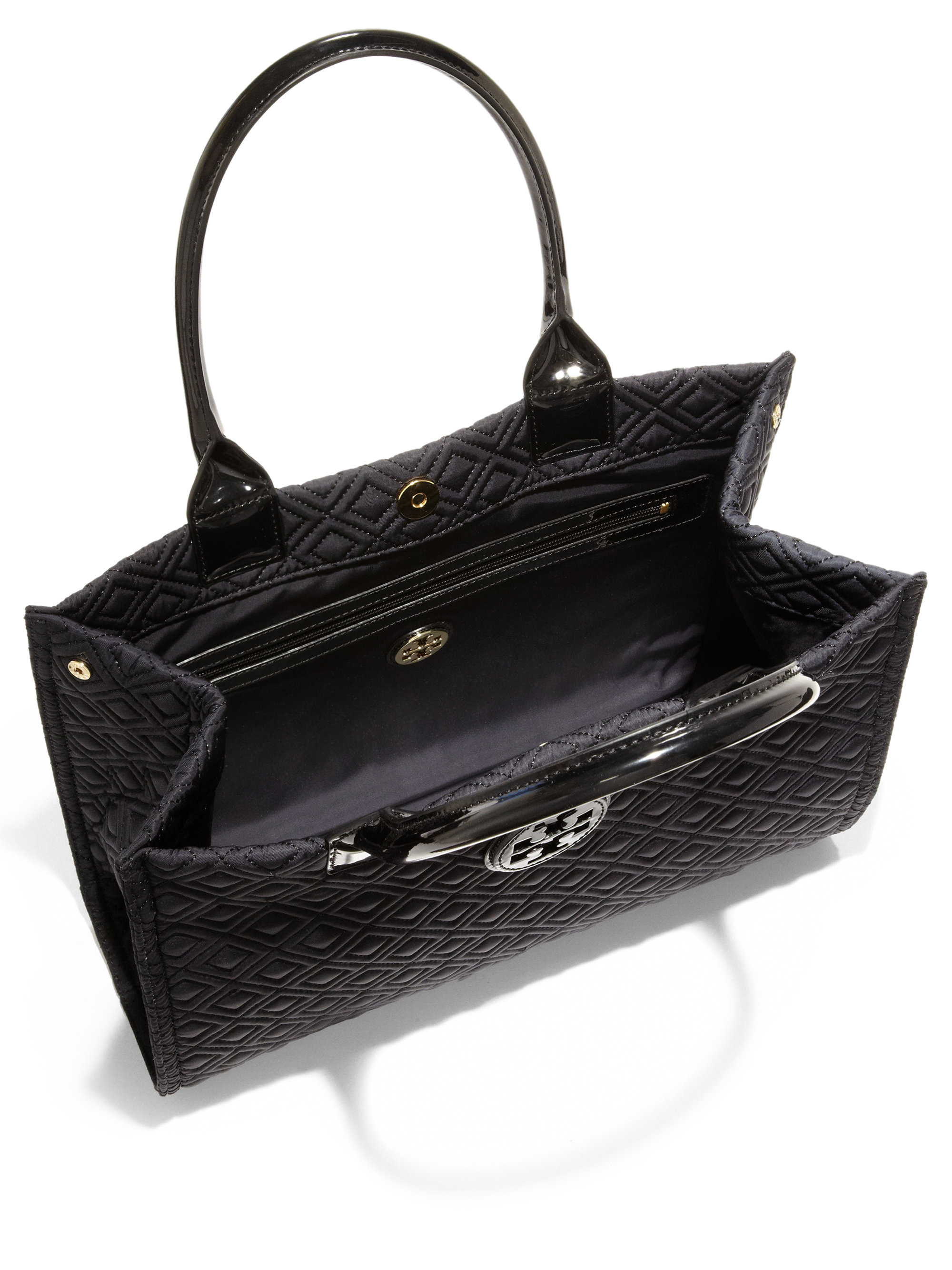 Lyst - Tory burch Mini Ella Quilted Tote in Black : tory burch quilted tote - Adamdwight.com