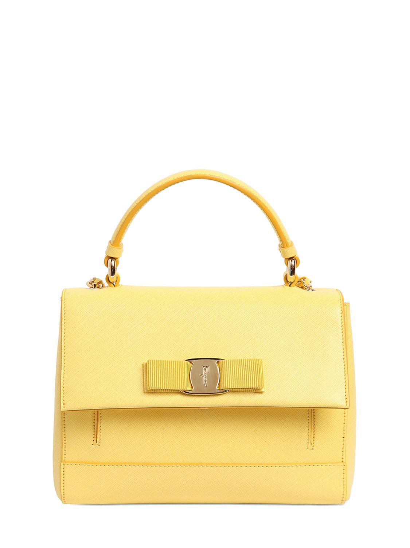 384e6c9b15 Lyst - Ferragamo Small Carrie Saffiano Leather Bag in Yellow