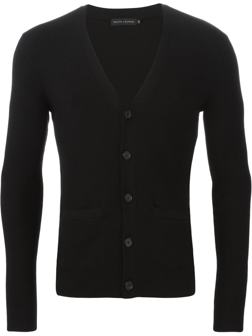 ralph lauren black label ribbed slim fit cardigan in black. Black Bedroom Furniture Sets. Home Design Ideas