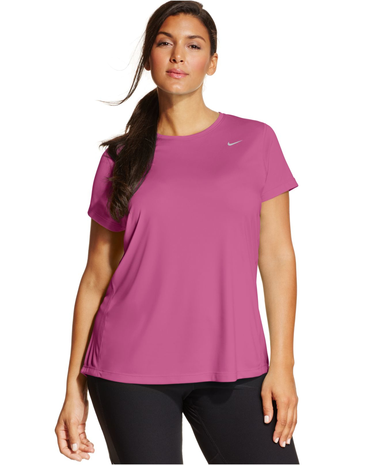 Nike pink plus size short sleeve dri fit running top lyst for Hot pink running shirt