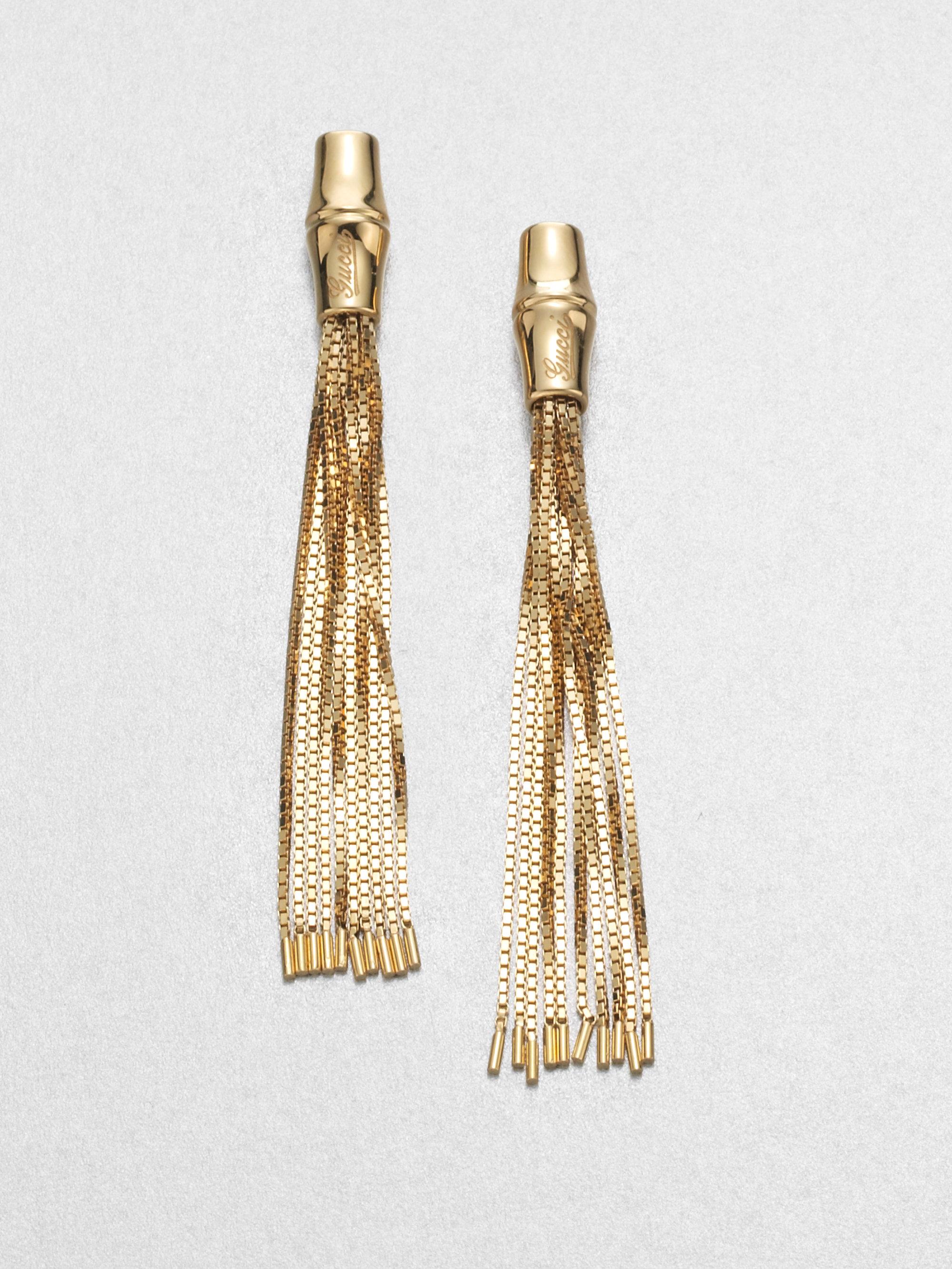86d090acc Gucci Bamboo 18k Yellow Gold Tassel Earrings in Metallic - Lyst