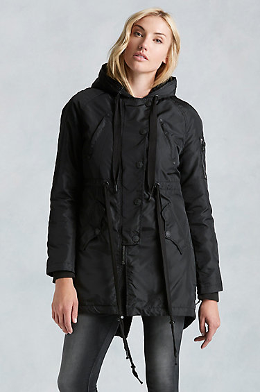 true religion sherpa lined parka womens jacket in black lyst. Black Bedroom Furniture Sets. Home Design Ideas