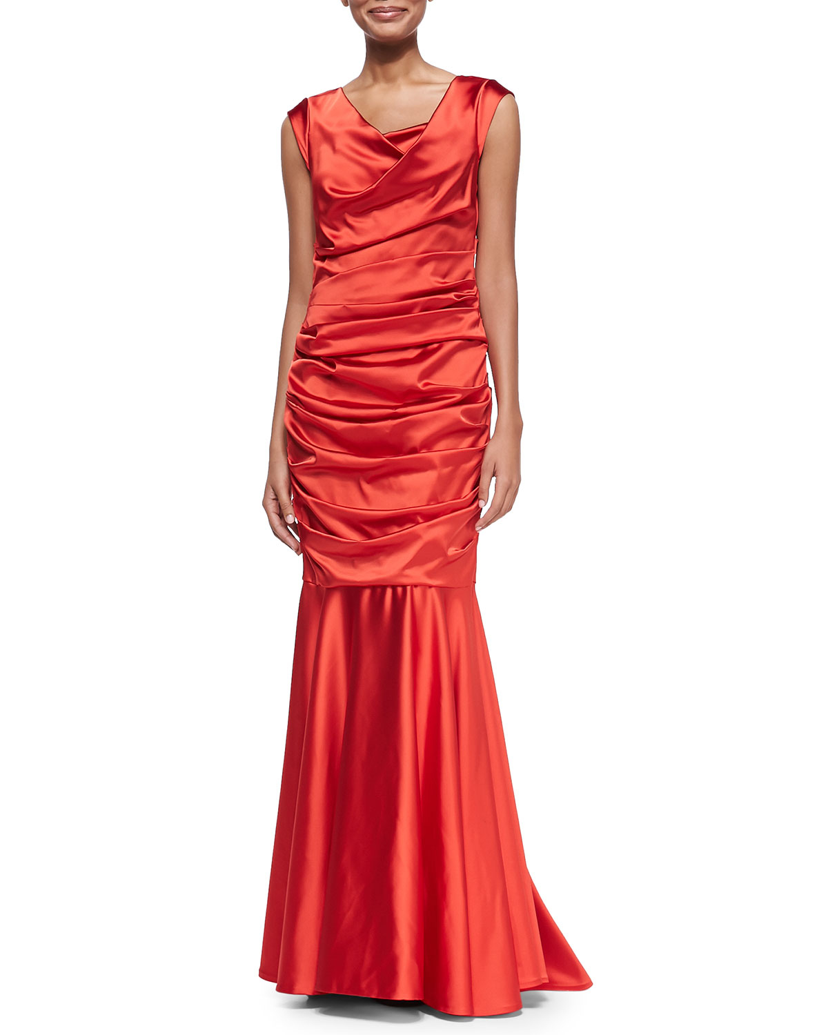 talbot runhof sleeveless ruched mermaid gown in red lyst. Black Bedroom Furniture Sets. Home Design Ideas
