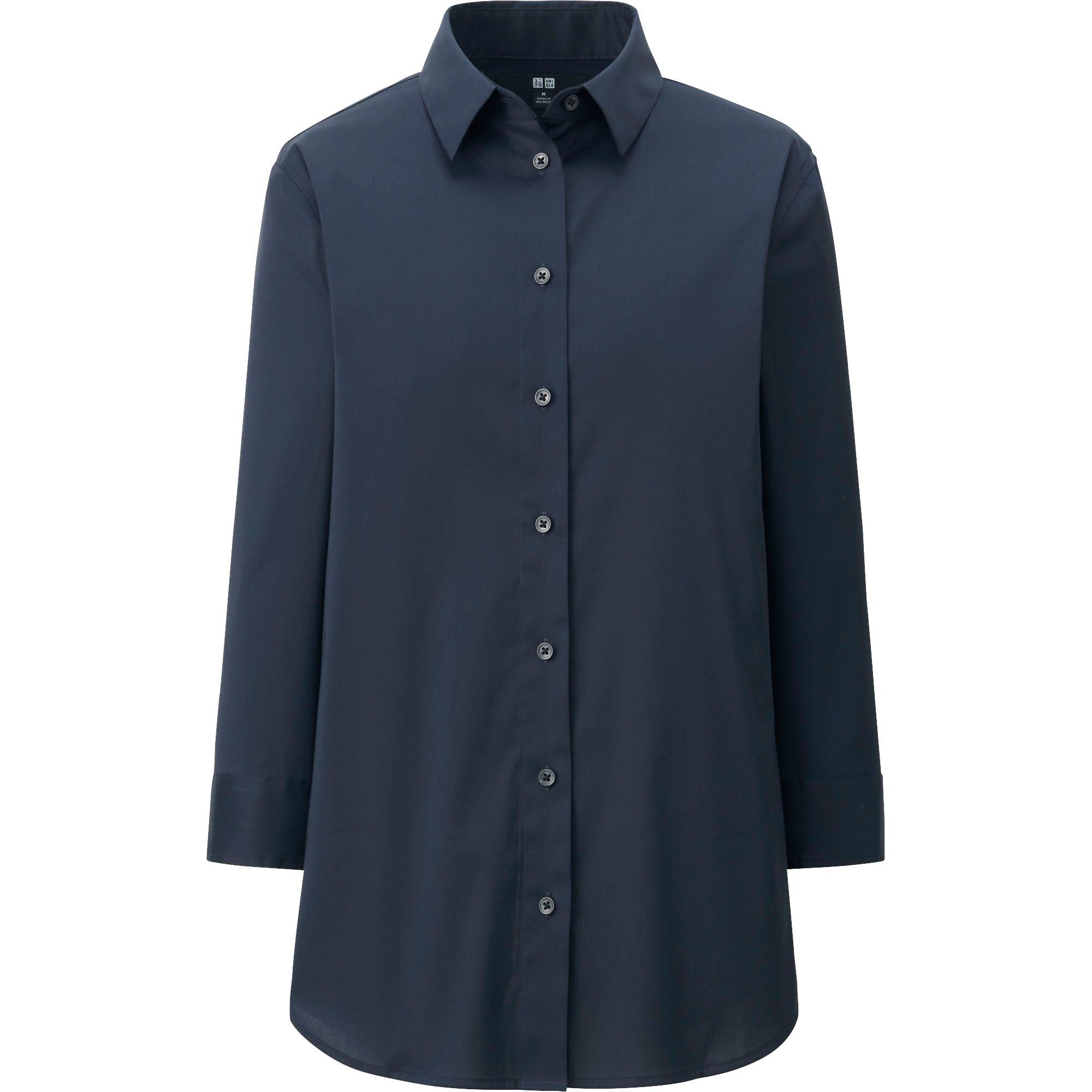 Uniqlo women supima cotton stretch 3 4 sleeve shirt in for Supima cotton dress shirts