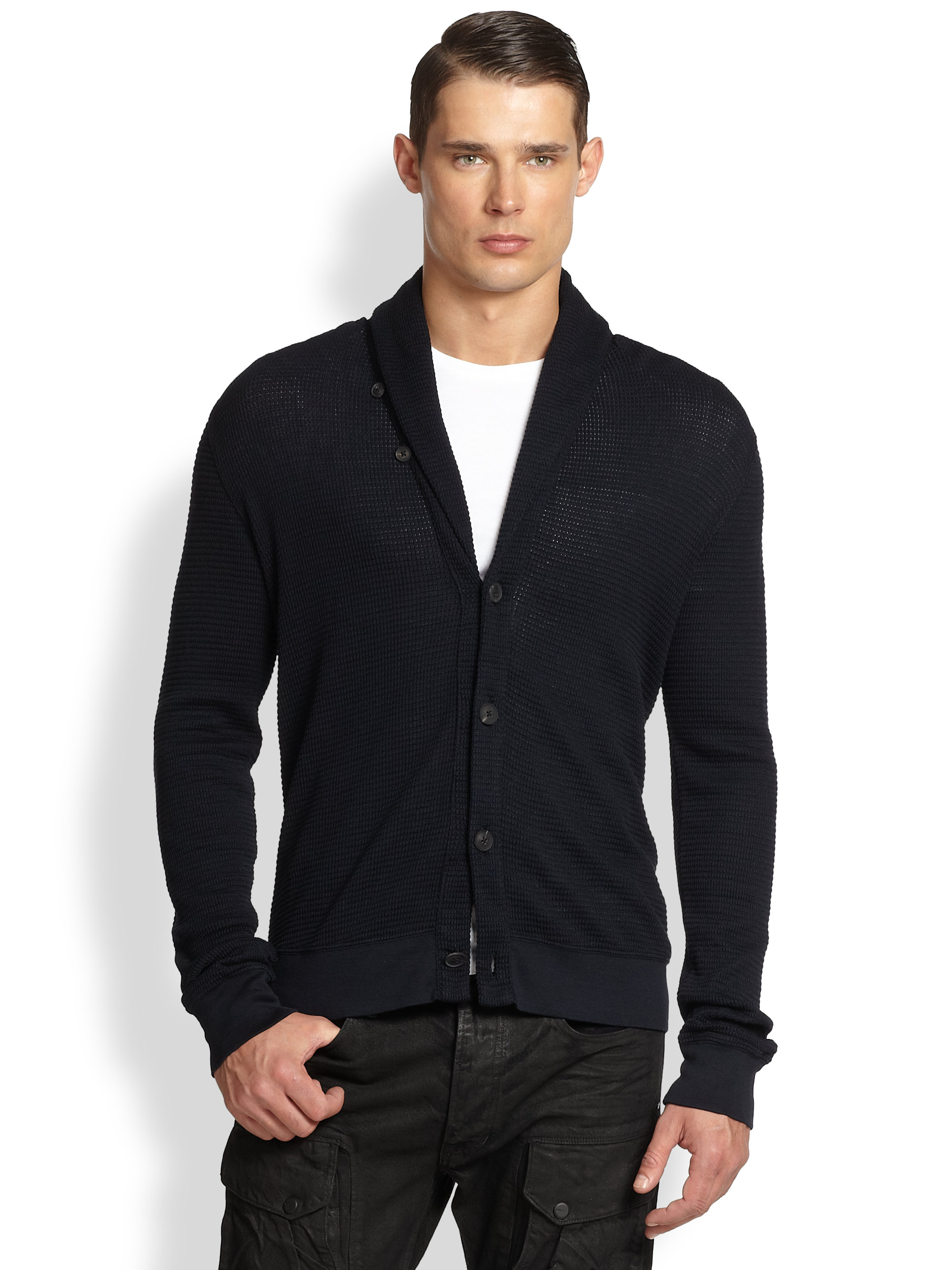 Ralph lauren black label Waffle-Knit Shawl Collar Cardigan in Blue ...