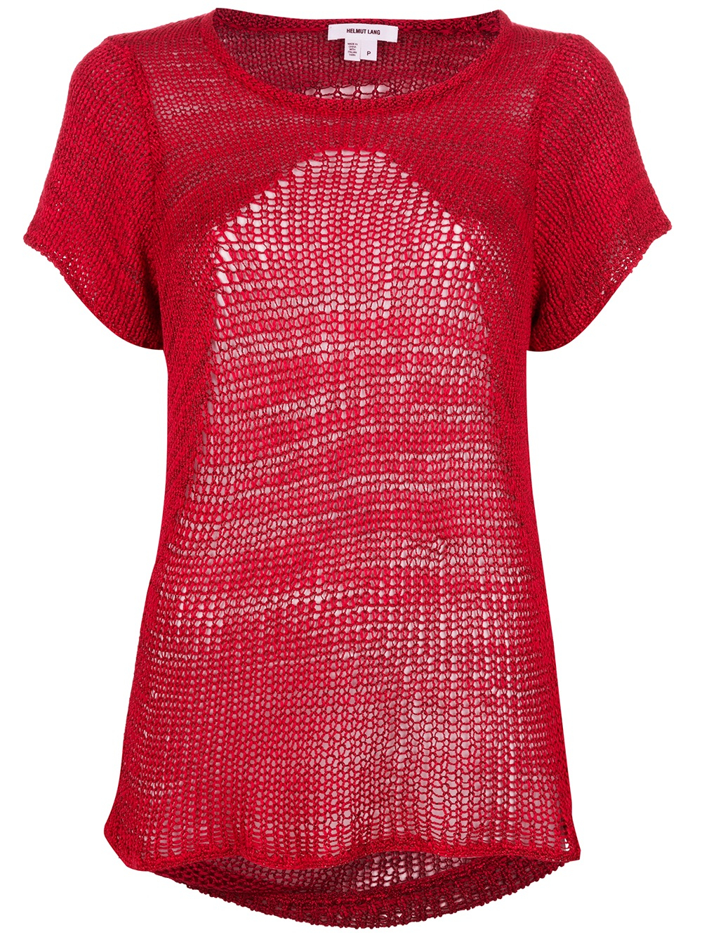 Helmut lang Marled Short Sleeve Sweater in Red | Lyst